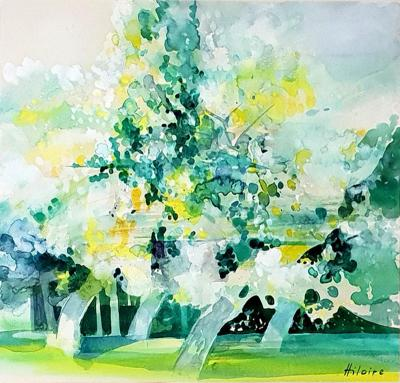 Camille Hilaire Camille Hilaire Green Trees Original Signed Watercolor 1970s