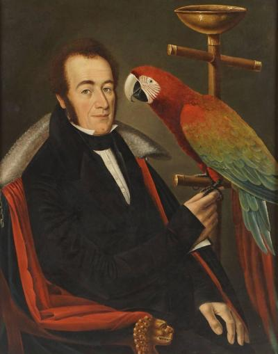 Camilo Domeniconi Gentleman Portrait Painting with Pet Parrot Camilo Domeniconi