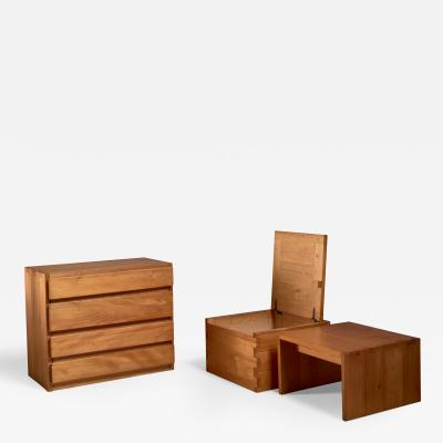 Campagne style fir wood set of three pieces France 1960s
