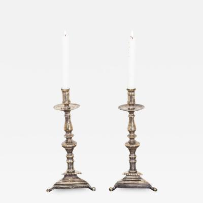 Candlesticks Pair Swedish Baroque 18th Century Sweden
