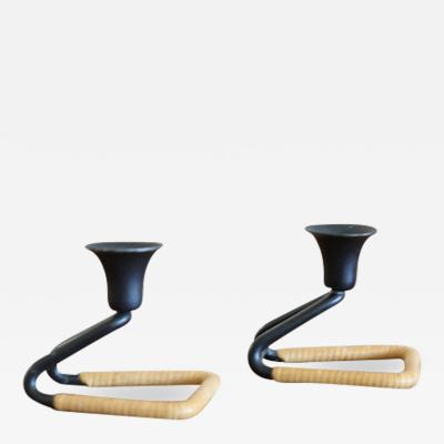 Cane Wrapped Square Candle Holder a Pair