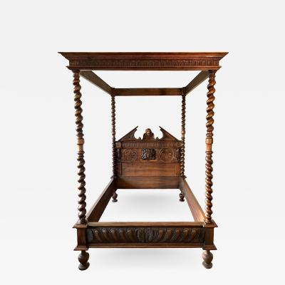 Canopy bed In carved and turned walnut France end of XIXth Century