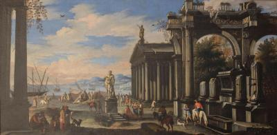 Capriccio of Mediterranean Port and Classical Architectural Ruins Oil on Canvas