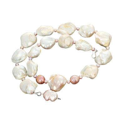 Caribbean Collection Cultured Glowing White and Pinkish Pearl Necklace