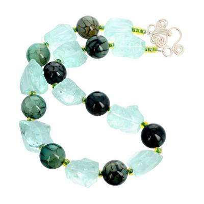Caribbean Inspired Natural Aquamarines Blue Green Spiderweb Jasper Necklace