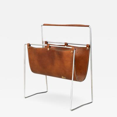 Carl Aub ck Carl Aub ck II MidCentury Magazine Holder in leather and steel 1950s