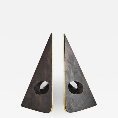 Carl Aub ck Carl Aubo ck Model 4100 Patinated Brass Bookends
