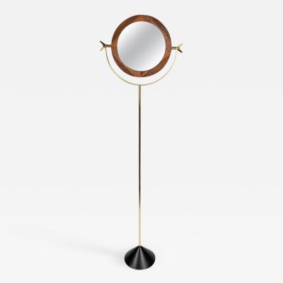 Carl Aub ck Large Carl Aub ck 4959 Brass and Walnut Floor Mirror