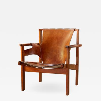 Carl Axel Acking Carl Axel Acking Trienna Chair in Patinated Brown Leather circa 1957