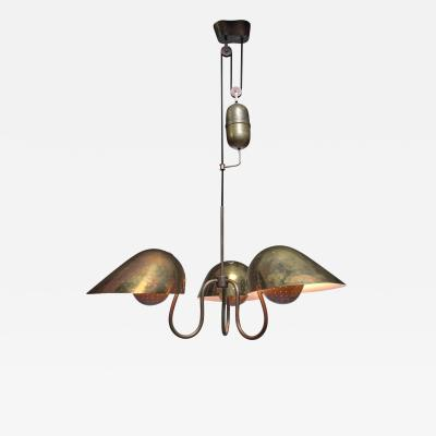 Carl Axel Acking Carl Axel Acking chandelier with counterweight Sweden 1940s