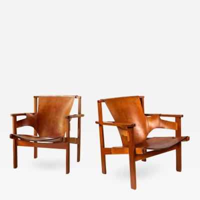 Carl Axel Acking Pair of Carl Axel Acking Trienna Chairs in Patinated Brown Leather circa 1957