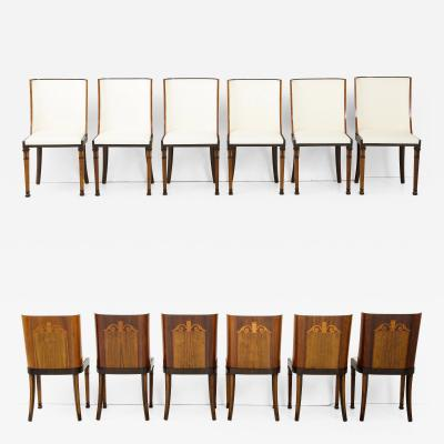 Carl Bergsten A Rare Set of Swedish Grace Twelve Dining Chairs Circa 1930 by Carl Bergsten