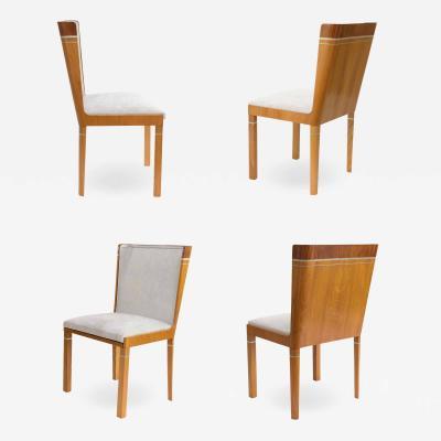 Carl Bergsten CARL BERGSTEN SWEDISH GRACE ART DECO ELM MAHOGANY Dining chairs PEWTER inlay