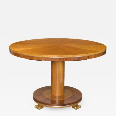 Carl Bergsten Carl Bergsten Swedish Grace Art Deco Elm and Mahogany table detailed in pewter