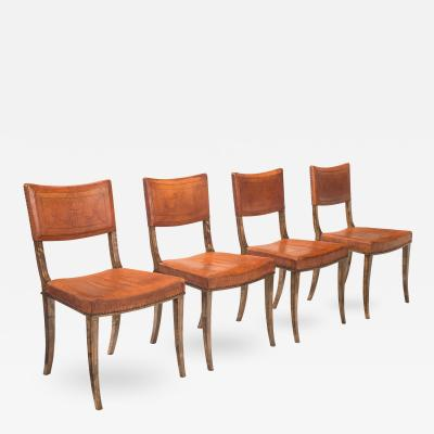 Carl Bergsten S 4 Swedish Purpleheart Inlaid Birch Chairs with Original Leather Upholstery