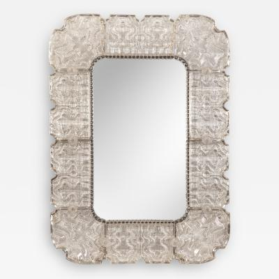 Carl Fagerlund A Swedish Cast Glass Framed Mirror for Orrefors