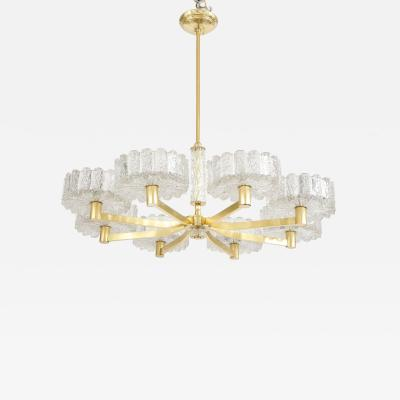 Carl Fagerlund Carl Fagerlund For Orrefors Brass And Glass Swedish Chandelier