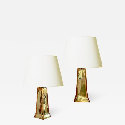 Carl Fagerlund Exceptional Pair of Table Lamps in Mirrored Pale Gold Glass by Carl Farborg