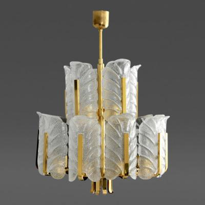 Carl Fagerlund Large Carl Fagerlund Orrefors Acanthus Leaf Chandelier