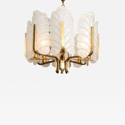 Carl Fagerlund Murano Glass Brass 8 Light Chandelier by Carl Fagerlund for Orrefors