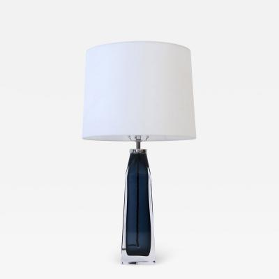 Carl Fagerlund Orrefors Blue Crystal Lamp
