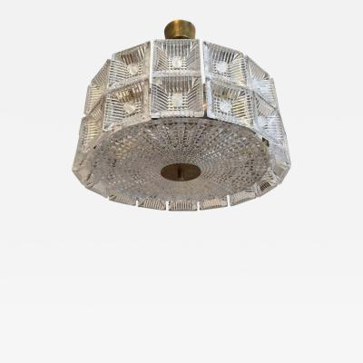 Carl Fagerlund Orrefors Carl Fagerlund 1960s Crystal Flush Chandelier Pendant
