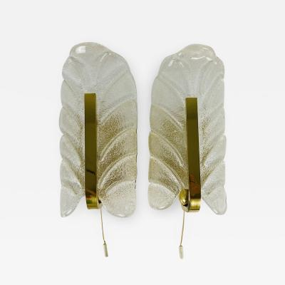 Carl Fagerlund PAIR OF MODERNIST BRASS AND OPALINE GLASS WALL LAMPS BY CARL FAGERLUND 1960S