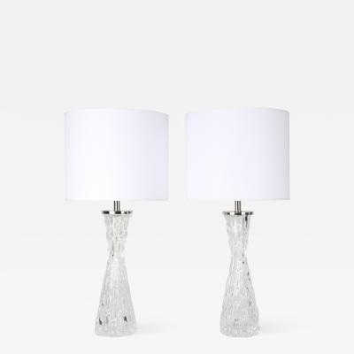 Carl Fagerlund Pair of 1970s Bubble Textured Clear Glass Lamps by Carl Fagerlund for Orrefors