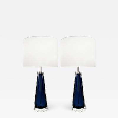 Carl Fagerlund Pair of Blue Glass Lamps by Orrefors for Carl Fagerlund