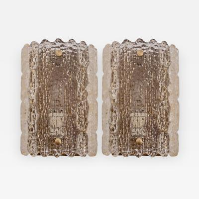 Carl Fagerlund Pair of Brass Carl Fagerlund Wall Lamps by Lyfa and Orrefors in Yellowish Glass