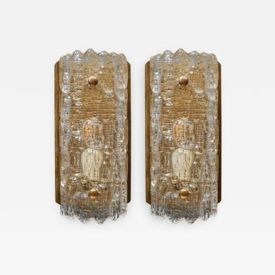 Carl Fagerlund Pair of Brass and Glass Scandinavian Wall Sconces by Carl Fagerlund for Orrefors