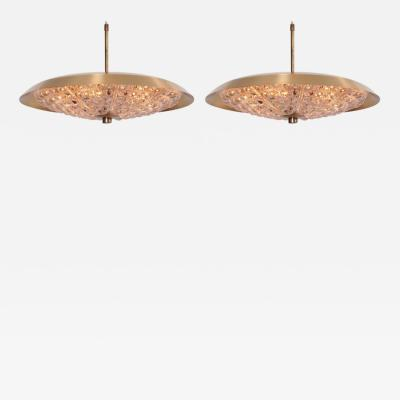 Carl Fagerlund Pair of Carl Fagerlund Pendant Lamp by Lyfa with Orrefors Glass Shade