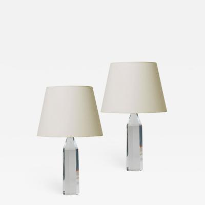 Carl Fagerlund Pair of Faceted Cut Crystal Table Lamps by Fagerlund for Orrefors