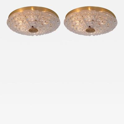 Carl Fagerlund Pair of Huge Flush Mount by Carl Fagerlund for Orrefors Glass and Brass