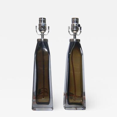 Carl Fagerlund Pair of Lamps by Carl Fagerlund for Orrefors