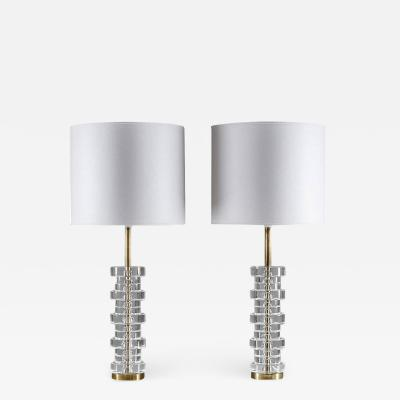 Carl Fagerlund Pair of Large Swedish Table Lamps by Carl Fagerlund for Orrefors