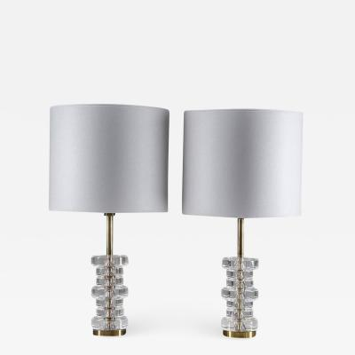 Carl Fagerlund Pair of Mid Century Swedish Table Lamps by Carl Fagerlund for Orrefors