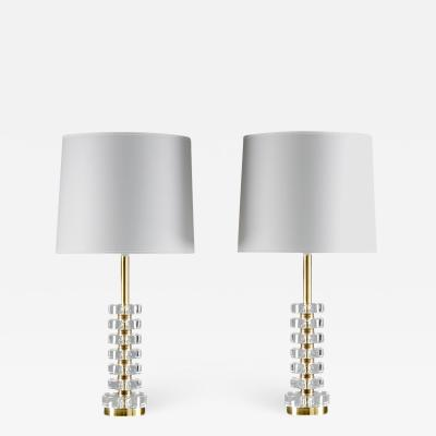 Carl Fagerlund Pair of Swedish Crystal Glass Table Lamps by Carl Fagerlund for Orrefors