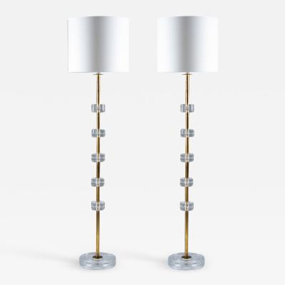 Carl Fagerlund Pair of Swedish Midcentury Floor Lamps by Carl Fagerlund for Orrefors