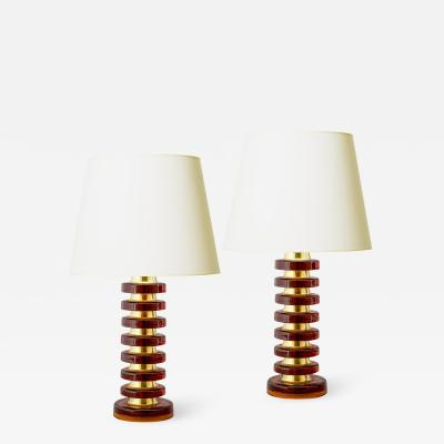 Carl Fagerlund Pair of Whiskey Crystal Lamps by Carl Fagerlund for Orrefors