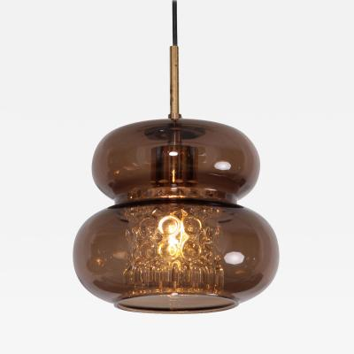 Carl Fagerlund Pendant by Carl Fagerlund for Orrefors in Brown and Bubble Glass Piece