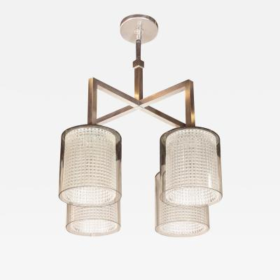 Carl Fagerlund Scandinavian Mid Century Modern 4 Arm Chandelier by Carl Fagerlund for Orrefors