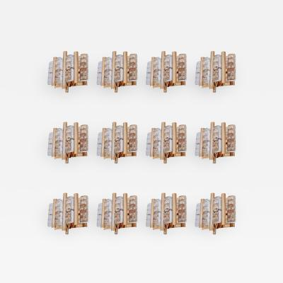 Carl Fagerlund Set of 12 Brass Carl Fagerlund Wall Lamps by Lyfa and Orrefors Glass