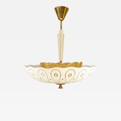 Carl Fagerlund Stylized Etched Glass Chandelier by Carl Fagerlund for Orrefors