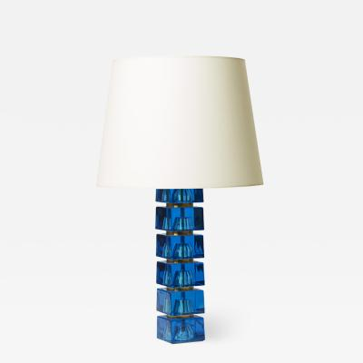 Carl Fagerlund Table lamp in turquoise glass by Carl Fagerlund