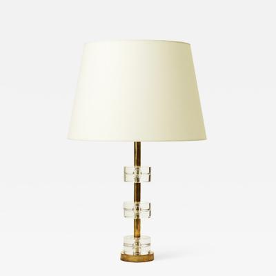 Carl Fagerlund Table lamp with cast glass disks by Carl Fagerlund