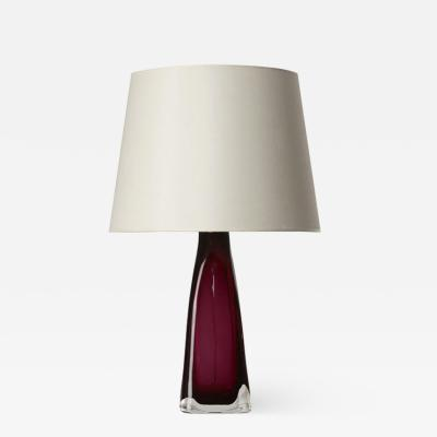 Carl Fagerlund Table lamp with deep rose interior by Carl Fagerlund