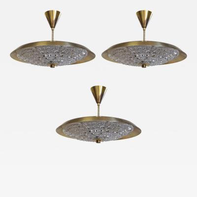 Carl Fagerlund Three Swedish Orrefors Light Fixtures