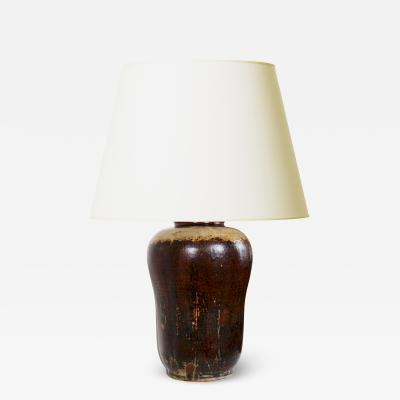 Carl Halier Exceptional table lamp with masterfully executed Sung glazing by Carl Halier