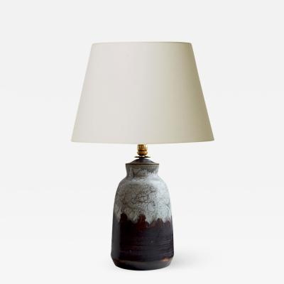 Carl Halier Extraordinary Table Lamp in Contrasting Glazes by Carl Halier